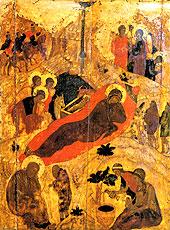 Рождество Христово. Андрей Рублев. 1405 г.