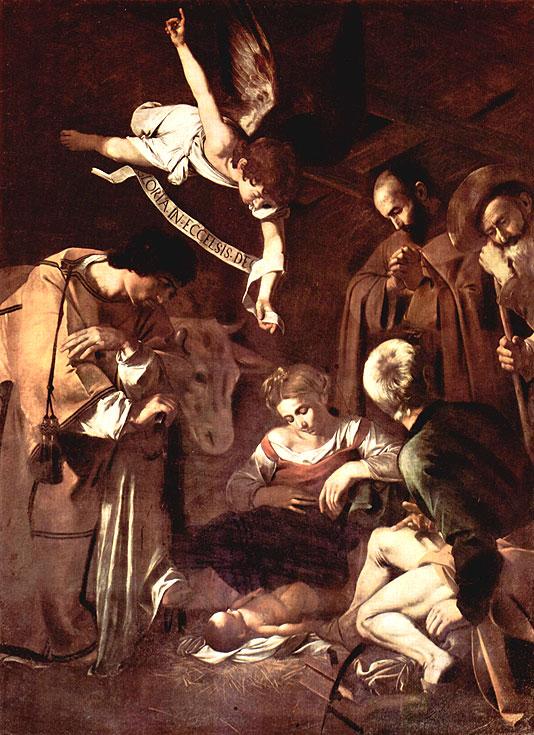 Микеланджело Меризи де Караваджо. Рождество со святым Лаврентием и святым Франциском