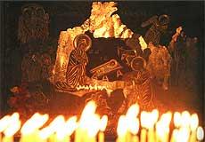Икона Рождества Христова в Вифлеемской базилике