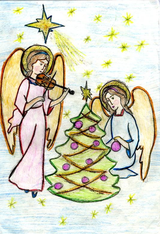 картинки на рождество карандашом легкие